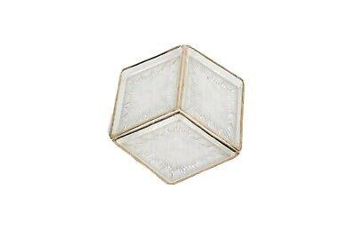 Vintage 60s Mid Century Modern MCM Set of 3 Sunburst Gold Trim Glass Dish Trays
