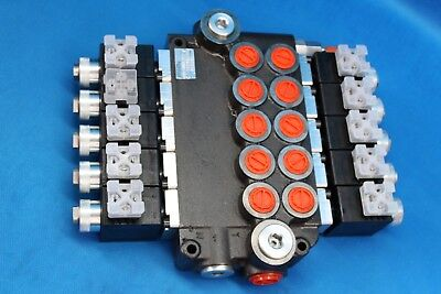 HYDRAULIC BANK MOTOR 5 SPOOL VALVES 80 L/MIN ELECTRIC 12V + INSTRUCTION