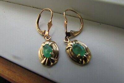 Yellow Gold Emerald Dangle Earrings - 14K - Cute!!