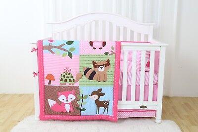4 Piece Animal Fairyland Baby Nursery Crib Bedding Set