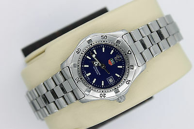 Tag Heuer 2000 WK1313 BLUE Classic Professional SS Watch Womens $1595