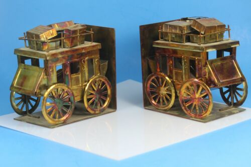 Metal Art Brass Stage Coach Book Ends.