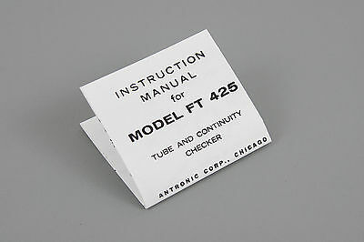 Model Ft 425 Vacuum Tube Continuity Checker Instruction Sheet