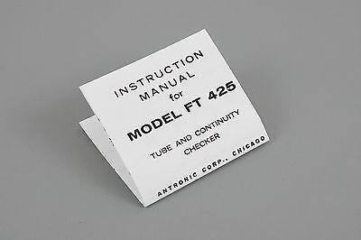 Model Ft 425 Vacuum Tube Continuity Checker Instruction Sheet