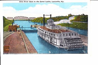 Louisville, KY  Ohio River Boat In Canal Lock @ 1915