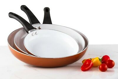 3 Pack Healthy Ceramic Copper Frying Pan Set - Nonstick Fry Pans Bakelite Handle
