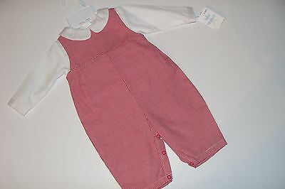 BeBe Mignon Outfit Boys 6 Month Red Great For Monogramming Longalls NEW NWT