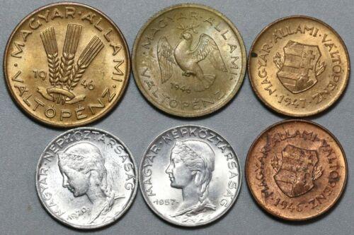 1946 1947 1957 1970 Hungary 2 5 10 20 Filler Type Set 6 coins (19092207R)
