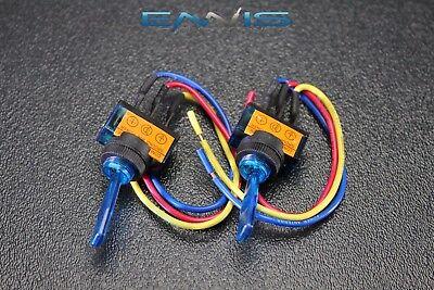 2 Pcs Toggle Switch On Off Blue Rocker Led 12v 20 Amp 3 Pin Is-ec-it1220blu