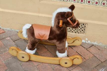 Mamas and Papas wooden rocking horse and wheels, like new