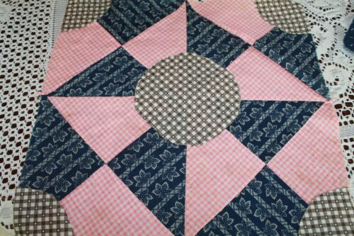RARE ANTIQUE QUILT BLOCK TURN OF THE CENTURY PINWHEEL IN PINK AND BLUE