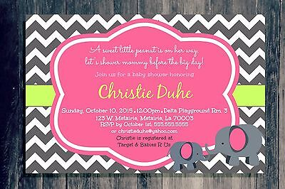 GIRL elephants personalized SWEET BABY SHOWER Invitations pink and gray chevron](Pink And Grey Baby Shower Invitations)