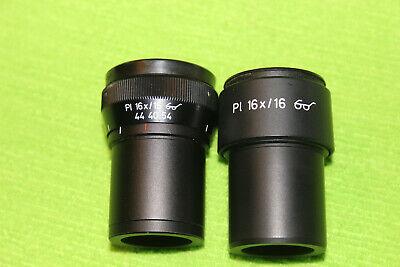 Pair Zeiss Microscope Eyepiece Pl 16x 16 30mm Tube 44 40 54 44 40 53