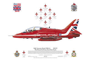 Squadron Print RAF Aerobatic Team The Red Arrows Scampton 2015 signed