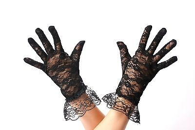 Schwarze Spitzen-handschuhe (Handschuhe Spitze Spitzenhandschuhe Damen Schwarz Gothic Viktorianisch Gloves)