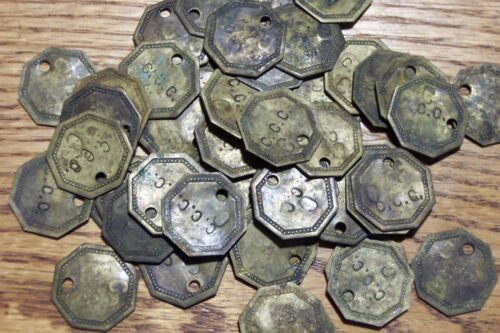 48 pc Token Lot C.C.C.  C  Tokens Brass Tags.  Possibly Cannery of Conservation