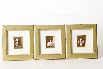 3 Miniaturbilder On Golden Film, Ca 3 X 4 CM - IN 10 X 11 CM Frame (94126)
