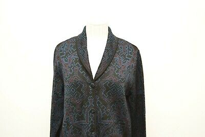 Sol Medium Sweater Jacket Baby Alpaca Silk Blend Button Blue Geometric Blazer Baby Alpaca Blend
