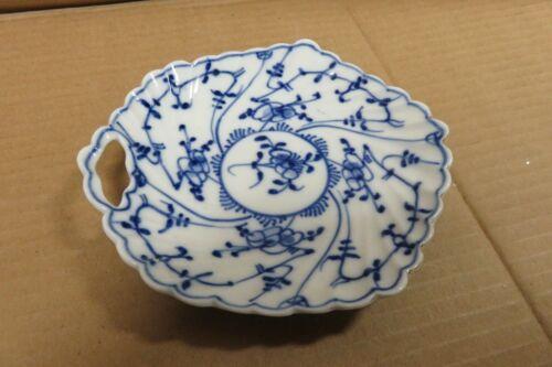 vintage Ernst TETTAU Porcelain Blue STRAWFLOWER Nappy Handled Bowl Dish Germany
