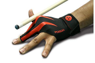 Billard Queue Handschuh POISON 3 Finger Handschuh schwarz-rot  L-XL  NEU
