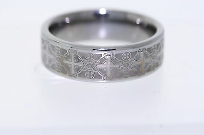 Triton Laser Engraved Cross Tungsten Carbide 8mm Band -