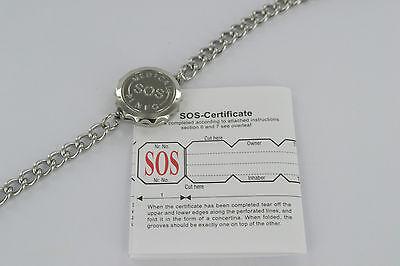 SOS BRACELET/MEDICAL ALERT/BANGLE/STAINLESS STEEL/EMERGENCY LADIES/MENS TALISMAN