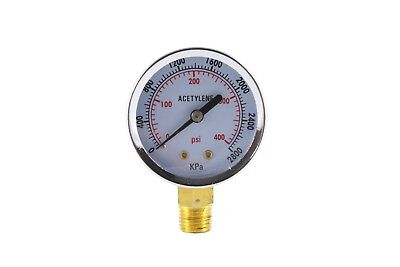 High Pressure Gauge For Acetylene Regulator 0-400 Psi - 2 Inches