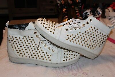Patent Studded Spiked Gold  (White Patent)