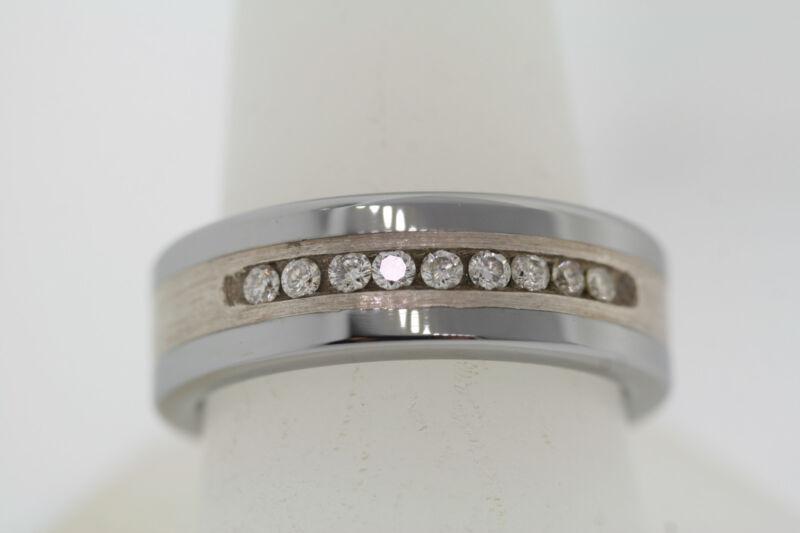 Triton 8mm Tungsten & Sterling Silver .25ctw Diamond Square Edge Band Ring