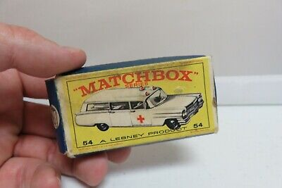Vintage Lesney Matchbox #54 Cadillac Ambulance Wagon Car Empty Original Box Only