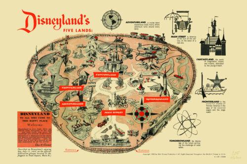 """1958 Disneyland """"FIVE LANDS"""" Park Map Poster 24"""" X 36"""" *""""Nicest Around""""*"""