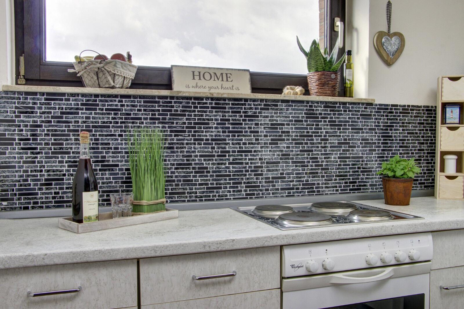 Küchenrückwand Mosaik Fliese Verbund GlasStein Mix Schwarz Art - Küchenrückwand mosaik fliesen