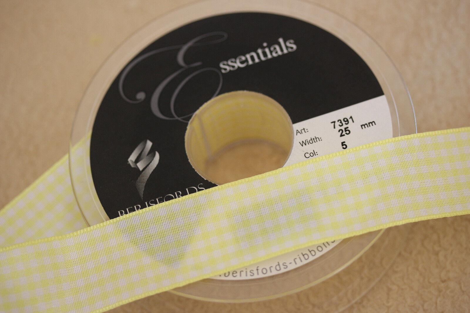 Choice of Widths ~Bows Ribbon and Lace~ Berisfords Gingham Ribbon Shade 5 Lemon