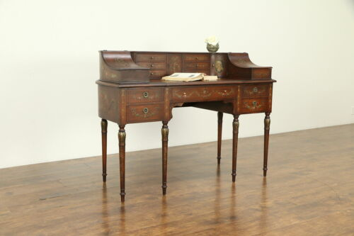 Carlton House Antique Desk, Hand Painted Mahogany, Aimone NYC #32040