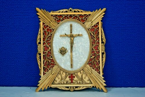 Vintage KNIGHTS OF COLUMBUS MEMORIAL PLAQUE w/ Inlay Pearl & Crucifix