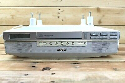 SONY ICF-CD523 Under Cabinet Counter Kitchen Clock Radio AM FM CD Player Vintage