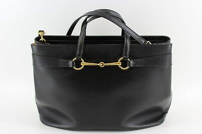 Gucci Black Horsebit Tote Large Shopper Shoulder Strap Bag Leather Gold Zipper