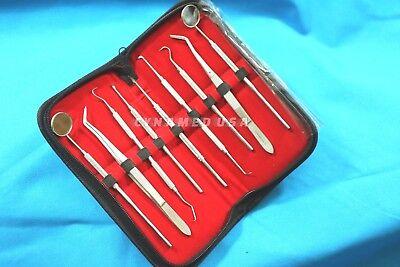 German 9pcs Pick Carving Dental Tool Dentist Stainless Steel Clean Teeth Mirror