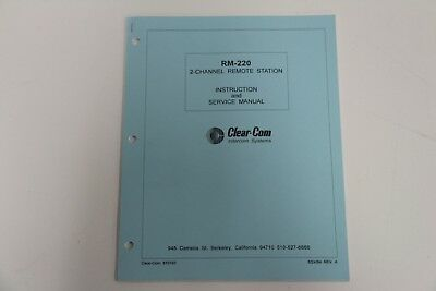 Clear-com Intercom Systems Rm-220 2 Channel Remote Station Instruction Manual