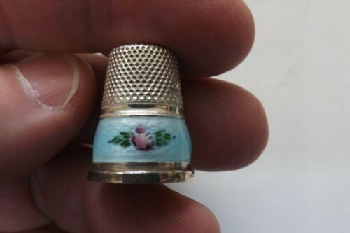 VINTAGE 925 SILVER AND ENAMEL THIMBLE WITH PINK FLOWERS 2.25CMS (1629)
