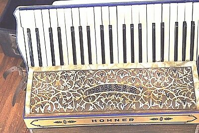 VINTAGE HOHNER ACCORDION  GERMANY1930/1940, MOTHER OF PEARL, CASE, LOTS SPARKLE