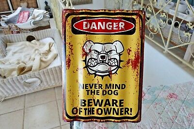 Blechschild Türschild DANGER Never Mind The Dog Gewellt Retro 40x29cm Metall NEU