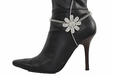 Women Silver Boot Bracelet Metal Chain Anklet Fashion Flower Daisy Shoe Charm