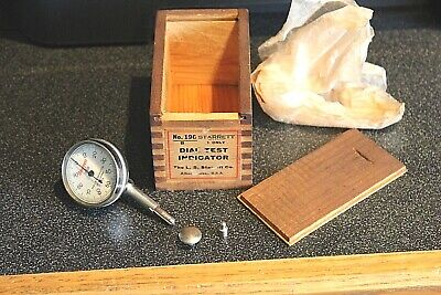 L.s. Starrett No.196 Universal Dial Test Indicator Wood Box And Adapters