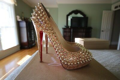 Authentic CHRISTIAN LOUBOUTIN ALTI Pump Spike Cork High-Heel Platform Pump 38.5