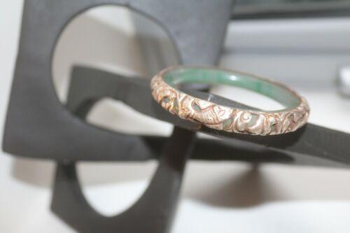 Antique Chinese Sterling Silver Bracelet w/ Green Jadeite Jade