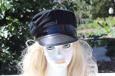 NEW COTTON BLACK CHAUFFER POLICE UNIFORM CAP HAT LIMO LIMOUSINE DRIVER ONE SIZE