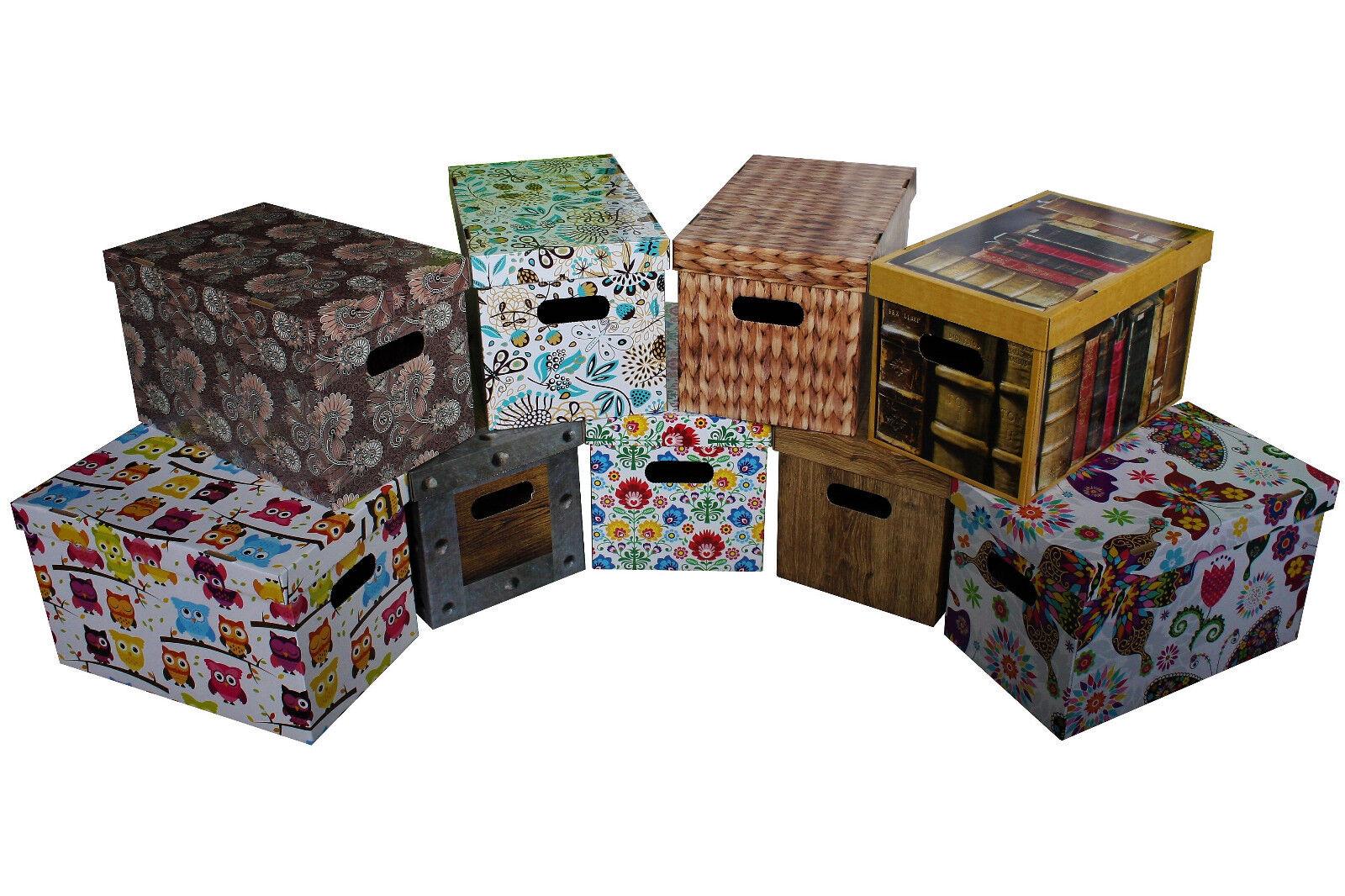 Aufbewahrungsbox Pappe mit Deckel Kiste Schachtel Box 9 und 35 L aus Karton