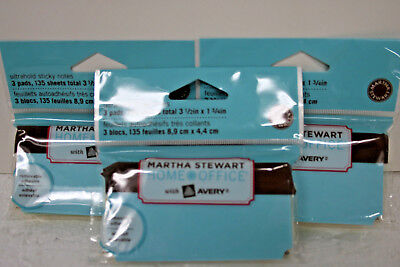 Martha Stewart Sticky Note Pad Classic Cute Shape 3-color Assort Pastel 3 Packs