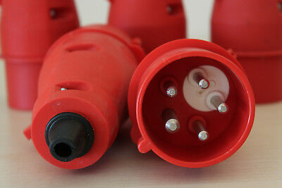 5x CEE Stecker Steckverbinder mit Phasenwender 5-polig 16A - 6h rot